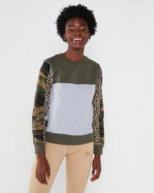 All About Eve Patchwork Fleece Crew Sweatshirt Multi