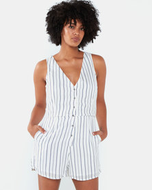 All About Eve Mirror Stripe Playsuit Navy and White Stripe