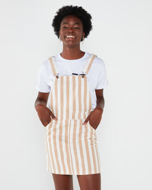 All About Eve Ridge Pinafore Dress Tan and White Stripe