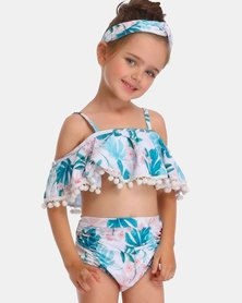 Iconix Daughter Matching Off Shoulder Swimsuit - Blue Fern Printed