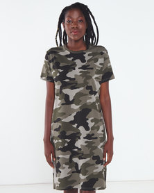 Utopia Camo Print T-shirt Dress with Pockets Green