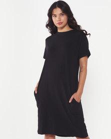 Utopia Knit T-shirt Dress with Pockets Black