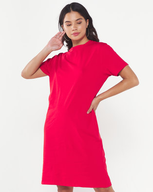 Utopia Knit T-shirt Dress with Pockets Red