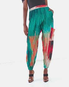 Michelle Ludek Protea Print Hanna Cargo Style Pants Multi
