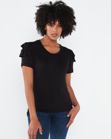 Utopia Ruffle Sleeve Tee Black