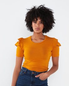 Utopia Ruffle Sleeve Tee Old Gold