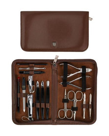 Kellermann 3 Swords Manicure Genuine Leather Set Brown