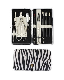Kellermann 3 Swords Manicure Set Black & White Zebra Print