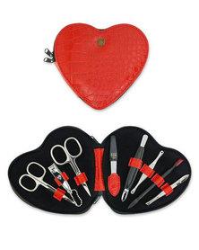 Kellermann 3 Swords Manicure Set Heart Croco Red