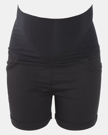 Cherry Melon Sateen Short With Turn Up Black
