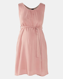 Cherry Melon Belted Tunic Dress Deep Blush