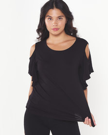 Utopia Cold Shoulder Ruffle Top Black