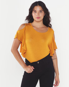 Utopia Cold Shoulder Ruffle Top Old Gold