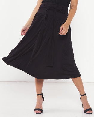 Utopia Knit Skirt with Self Belt Black