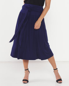 Utopia Knit Skirt with Self Belt Navy