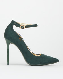 Plum Ankle Strap Court Shoes Green