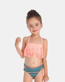 Iconix Daughter Fringe Swimsuit - Peach Top and Stripe Printed Bottom
