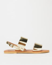 Utopia Leather Double Strap Slingback Sandals Gold