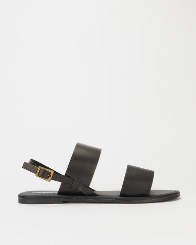 Utopia Leather Double Strap Slingback Sandals Black