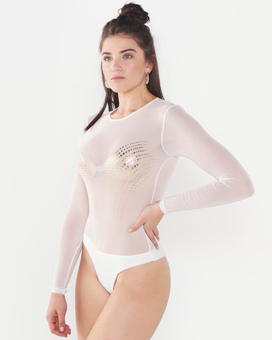 Sissy Boy Mesh Behaviour Bodysuit Ivory