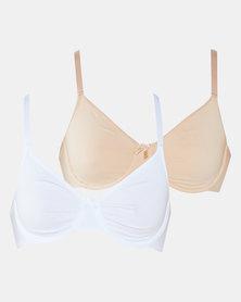 Playtex Plus Cotton 2 Pack Moulded Underwire Bra Beige & White