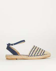 Queue Stripe Ankle Strap Espadrille Navy/White Stripe