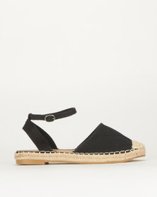 Queue Ankle Strap Espadrille Black