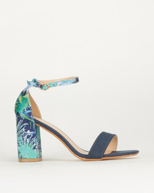 Queue Floral Detail Block Heel Navy and Floral
