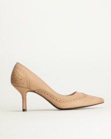 Queue Brogue Court Shoes Nude