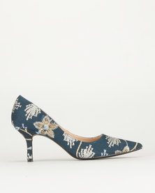 Queue Denim Embroidery Court Shoes Demin Embroidery