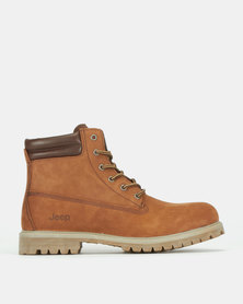 Jeep Heavy Cleat Leather Work Boots Brown