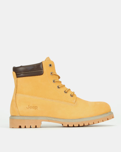 Jeep Heavy Cleat Leather Work Boots Tan