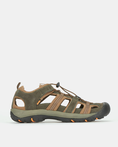 Jeep Leather Closed Adventure Sandals Olive