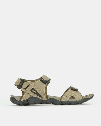Jeep Velcro Open Adventure Sandals Khaki