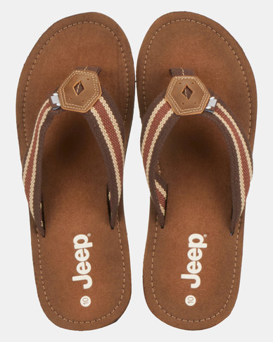 Jeep Stitch Thong Sandals Brown