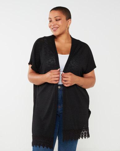 Utopia Knit Kimono With Lace Trim Black