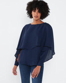 Utopia Overlay Chiffon Top Navy