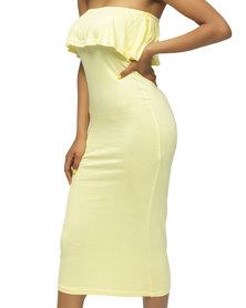 Planet54 Boob Tube Dress Yellow