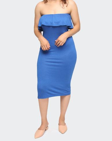 Urban Style Boob Tube Dress Blue