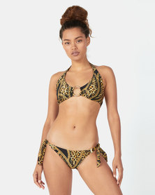 TracyB Halterneck Bikini With Gold Ring Detail - Leopard Chain Print