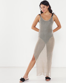 Sissy Boy Lurex Knit Maxi Dress With CB Lace Up Detail  Gold