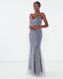 Sissy Boy Beaded Mesh Maxi Dress Grey/Silver