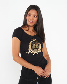 Sissy Boy Timini Round Neck Basic With Gold Crest Logo Black