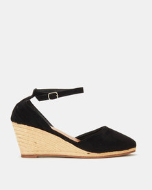 Utopia MaryJane Espadrille Wedge Black