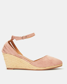 Utopia MaryJane Espadrille Wedge Dusty Pink