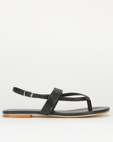 Utopia Diamante Thong Slingback Sandals Black