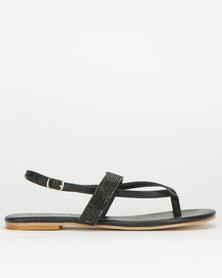 Utopia Diamante Thong Slingback Sandals Black