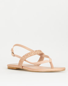Utopia Diamante Thong Slingback Sandal Pink