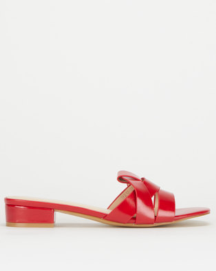 Utopia Low Heel Cross Strap Mule Red