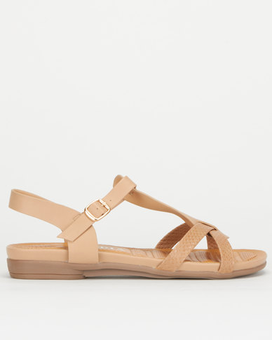 Utopia Snake T Bar Sandals Tan